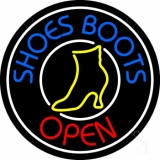 Blue Shoes Boots Open LED Neon Sign