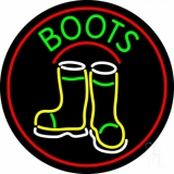 Boots With Logo Red Border LED Neon Sign