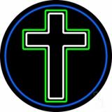 Christian Cross Blue Border LED Neon Sign