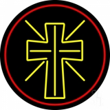 Christian Cross With Border LED Neon Sign