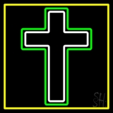 Christian Cross Yellow Border LED Neon Sign