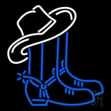 Cowboy Boots Logo Block LED Neon Sign