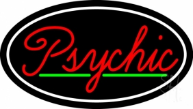 Cursive Red Psychic White Border With Green Line LED Neon Sign