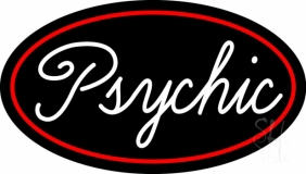 Cursive White Psychic Red Border LED Neon Sign
