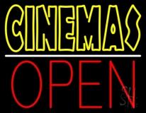 Double Stroke Yellow Cinemas Open LED Neon Sign