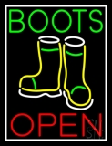 Green Boots With Logo Open LED Neon Sign