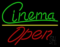 Green Cursive Cinema Open LED Neon Sign
