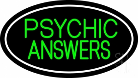 Green Psychic Answers White Border LED Neon Sign