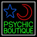 Green Psychic Boutique White Border LED Neon Sign