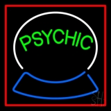Green Psychic Logo Red Border LED Neon Sign