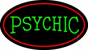 Green Psychic With Red Border LED Neon Sign