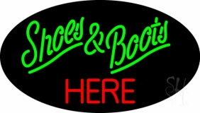 Green Shoes And Boots Red Here LED Neon Sign