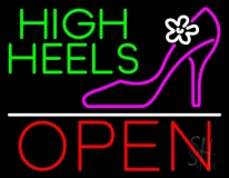 High Heels Open With White Line LED Neon Sign