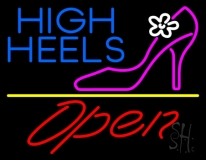 High Heels Open With Yellow Line LED Neon Sign