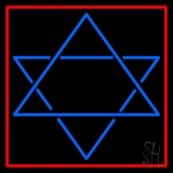 Judaism Star Of David Red Border LED Neon Sign