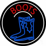 Pair Of Boots Logo With Border LED Neon Sign