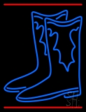 Pair Of Boots Logo With Line LED Neon Sign