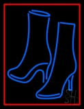 Pair Of Boots With Red Border LED Neon Sign