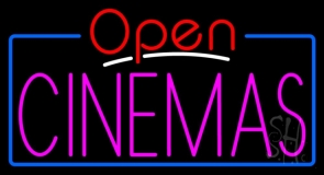 Pink Cinemas Open LED Neon Sign