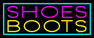 Pink Shoes Yellow Boots Turquoise Border LED Neon Sign