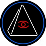Psychic Eye Pyramid With Blue Border LED Neon Sign