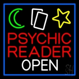 Psychic Reader Open Block Blue Border LED Neon Sign