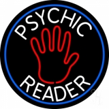 Psychic Reader With Palm Blue Circle LED Neon Sign