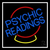 Psychic Readings Crystal White Border LED Neon Sign