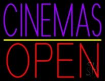 Purple Cinemas Open LED Neon Sign