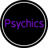 Purple Psychics With Circle LED Neon Sign