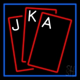 Red Cards Tarot Blue Border LED Neon Sign