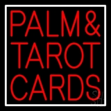 Red Palm And Tarot Cards Block White Border LED Neon Sign