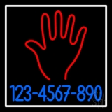 Red Palm Blue Phone Number White Border LED Neon Sign