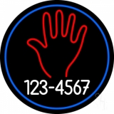 Red Palm White Phone Number LED Neon Sign