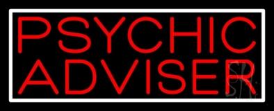 Red Psychic Advisor White Border LED Neon Sign