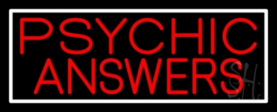 Red Psychic Answers With White Border LED Neon Sign