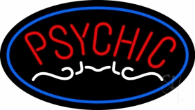 Red Psychic Blue Border LED Neon Sign