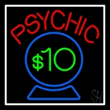 Red Psychic Blue Crystal Globe And White Border LED Neon Sign