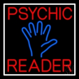 Red Psychic Reader Blue Palm With White Border LED Neon Sign
