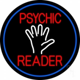 Red Psychic Reader White Palm And Blue Border LED Neon Sign