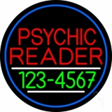 Red Psychic Reader With Green Phone Number And Blue Border LED Neon Sign