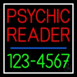 Red Psychic Reader With Green Phone Number LED Neon Sign