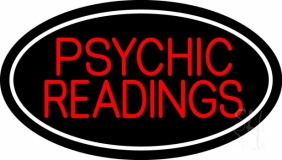 Red Psychic Readings White Border LED Neon Sign