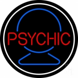 Red Psychic With Crystal White Border LED Neon Sign