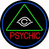 Red Psychic With Logo Blue Border LED Neon Sign