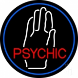 Red Psychic With White Palm Blue Border LED Neon Sign