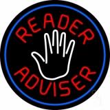 Red Reader Advisor And White Palm Blue Border LED Neon Sign
