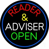 Red Reader And White Advisor Green Open With Blue Border LED Neon Sign