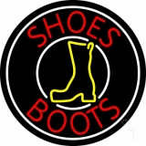 Red Shoes Boots White Border LED Neon Sign
