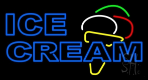 Double Stroke Blue Ice Cream Cone LED Neon Sign